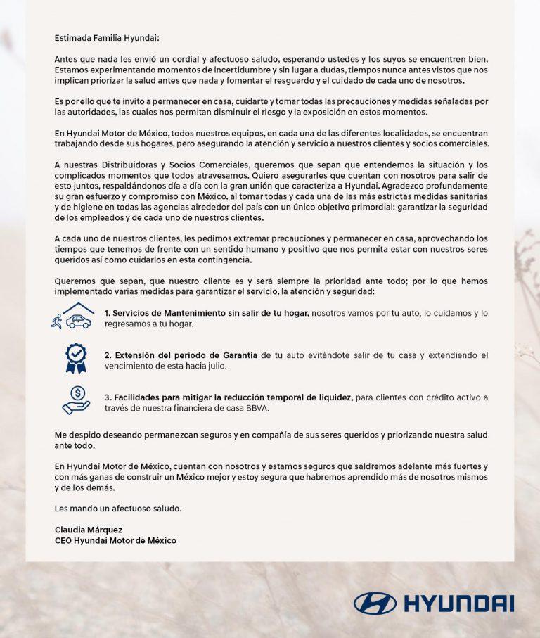 Implementa Hyundai acciones de servicio ante el #QuedateEnCasa